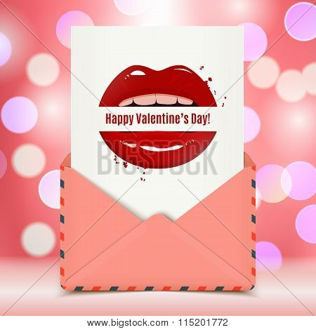 Happy Valentine's Day Vector Card In A Pink Envelope, Red Seductive Lips Holding A Banner