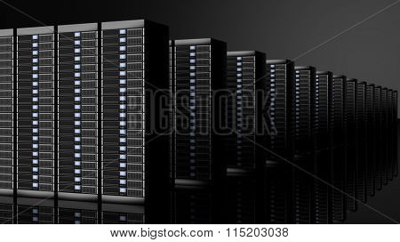 Network servers data center, isolated on black background with reflections.