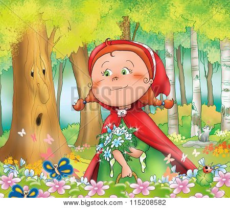 Happy Red Riding Hood in the wood