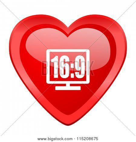 16 9 display red heart valentine glossy web icon