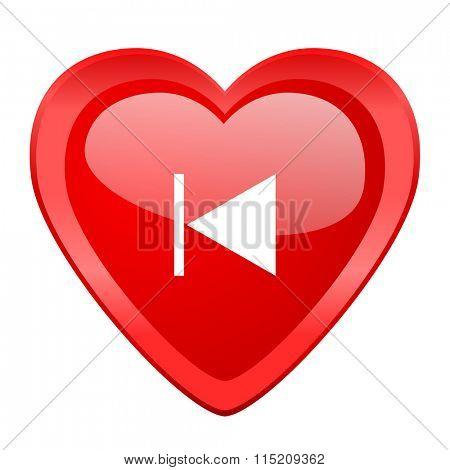 prev red heart valentine glossy web icon