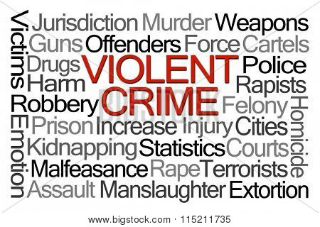 Violent Crime Word Cloud on White Background