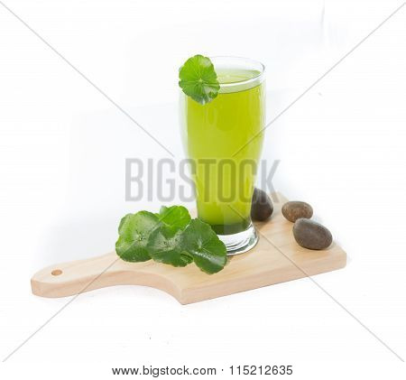 Pennywort Or Asiatic Herbal Smoothie In Glass, Helathy Drink On White Background