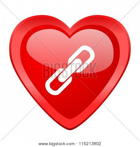 link red heart valentine glossy web icon