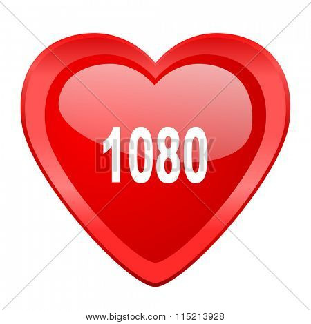 1080 red heart valentine glossy web icon