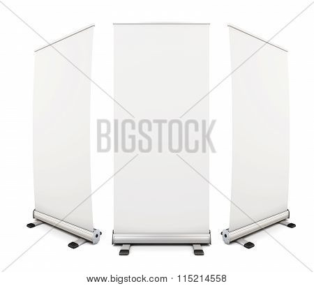 Template Blank Roll Up Banner Display On White Background. 3D.