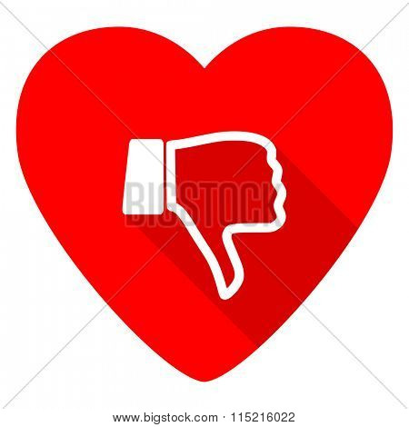 dislike red heart valentine flat icon poster
