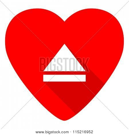 eject red heart valentine flat icon