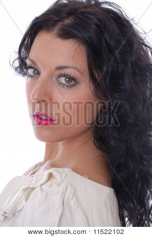 Beautiful young dark haired woman isolated