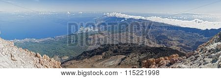 View from vulcano Teide over the entire island