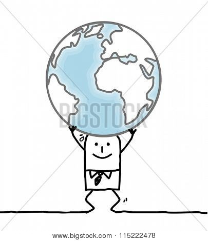 cartoon man carrying the Earth