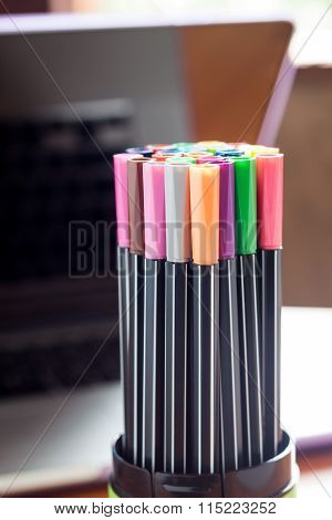 Magic Color Pens With Blurred Background