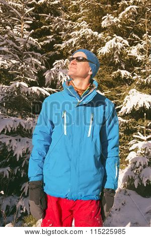 Comical Hiker In Winter Forest