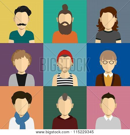 People icons set in flat style with faces of men and boys