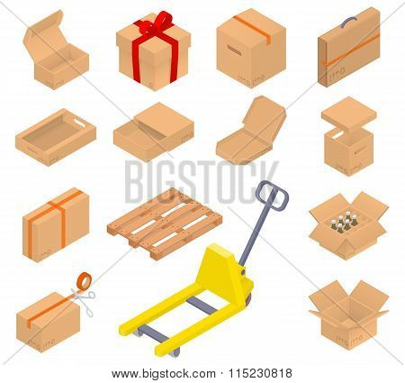 Collection of isometric cardboard boxes.