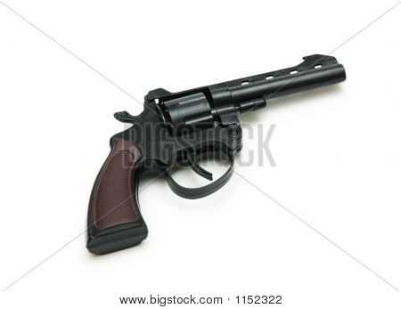 Black Revolver Isolated On The White Background