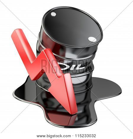 Bent Barrel, Spilled Oil And Chart Arrow Down. Financial Crisis.