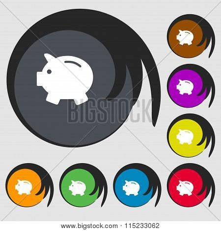 Piggy Bank - Saving Money Icon. Symbols On Eight Colored Buttons.