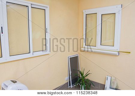 Samples Of Pvc Plastic Windows On The Wall