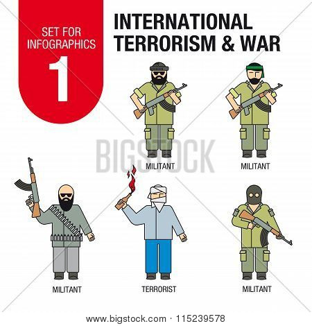 Set for infographics #1: international terrorism and war. Militants and terrorists.