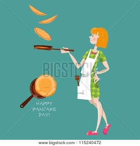 Girl Tosses Pancakes On A Frying Pan. Happy Pancake Day!