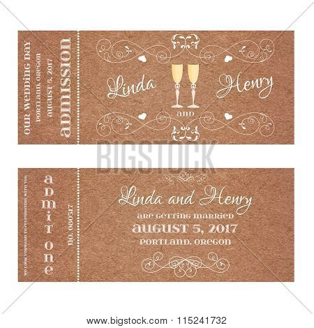 Ticket for Wedding Invitation with wine glass