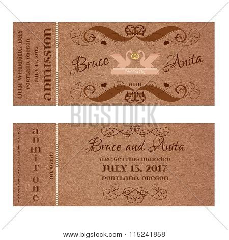Ticket for Wedding Invitation with swans and rings