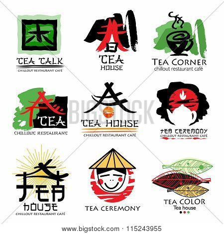 Tea house logo. Tea ceremony sign logo. Green tea logo.