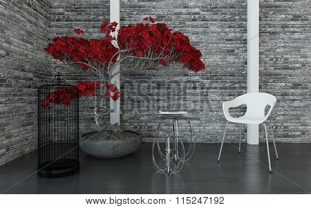 Modern living room or waiting room interior with a texture grey brick wall, red potted plant, bird cage, tables and modular chair, arranged in a corner. 3d Rendering.