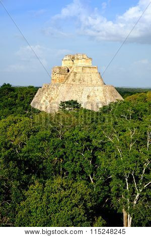 Landscape Vertical View Of Uxmal Archeological Site With Pyramid