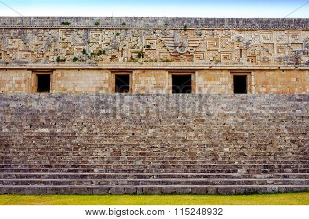 Ancient Decorated Wall And Stairs In Archeological Site Uxmal