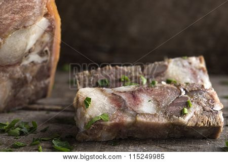 Aspic On Wooden Table