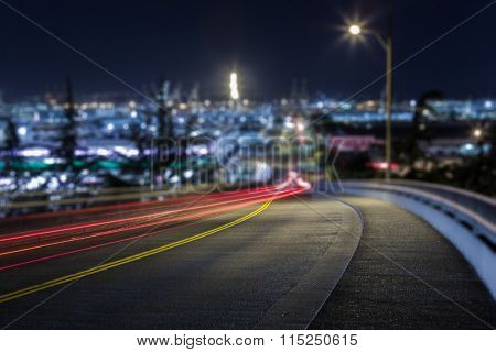 lights trail through downtown of Seattle, USA.