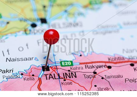 Tallin pinned on a map of Estonia