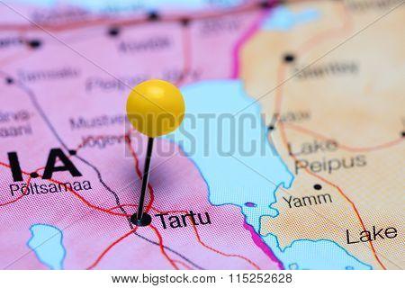 Tartu pinned on a map of Estonia