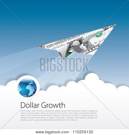 vector symbolic abstract illustration for dollar growing