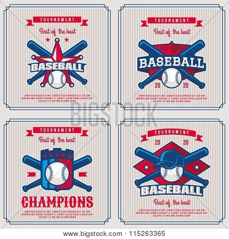 Set Baseball Badge, Logo, Emblem Tournament.