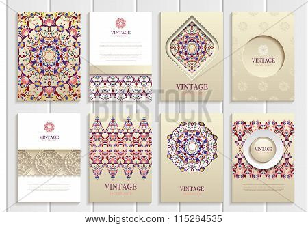 Purple, pink vintage frames, ornaments, patterns and golden backgrounds