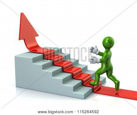 Green Man Climbs Up Stairs On Red Arrow