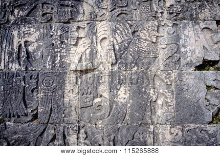 Detail Of Stone Carvings In Archeological Site Chichen Itza