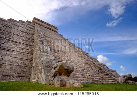 Famous Mayan Pyramid In Chichen Itza With Stone Stairs