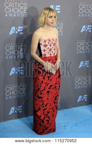 LOS ANGELES - JAN 17:  Zoe Kazan at the 21st Annual Critics Choice Awards at the Barker Hanger on January 17, 2016 in Santa Monica, CA