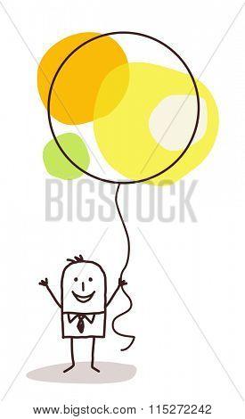 cartoon man holding up a big celebration balloon