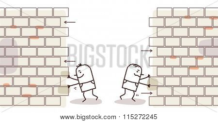 cartoon men pushing and opening a wall