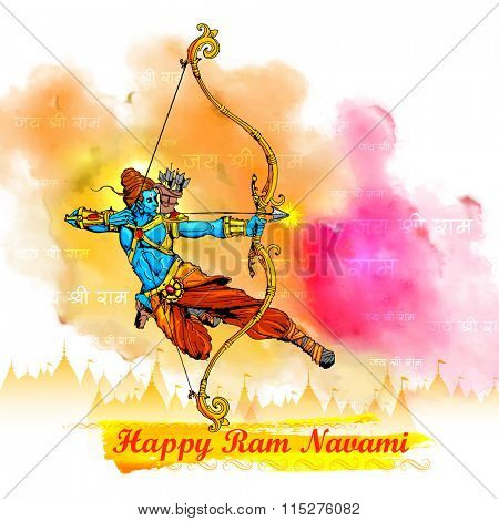 illustration of Lord Rama with bow arrow killing Ravana in Ram Navami