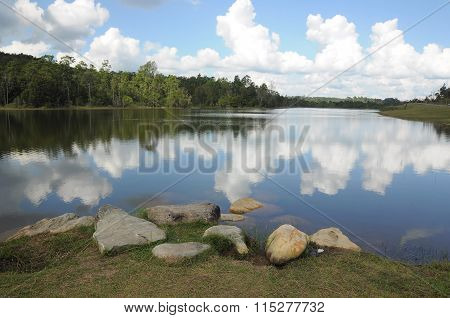 Clouds and sky reflection on a lake