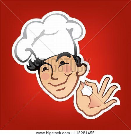 Cook in a white cap
