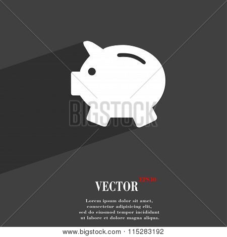 Piggy Bank - Saving Money Symbol Flat Modern Web Design With Long Shadow And Space For Your Text.