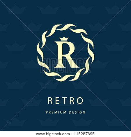 Monogram Design Elements, Graceful Template. Elegant Line Art Logo Design. Letter R. Retro Vintage I