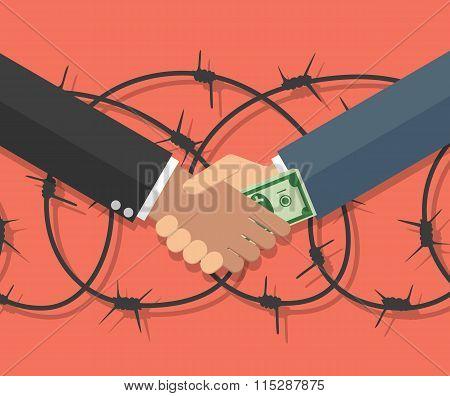 Businessman giving a bribe